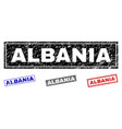 grunge albania textured rectangle watermarks vector image vector image