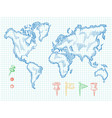 hand drawn world map and colorful doodle pins vector image