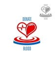Heart with blood drop and heartbeat symbol vector image vector image