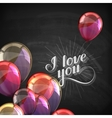 I love you retro label on blackboard vector image vector image