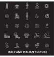 italy editable line icons set on black vector image vector image