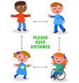 kids keep social distance vector image vector image