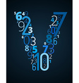 Letter V font from numbers vector image vector image