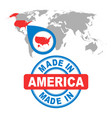 made in america usa stamp world map with red vector image vector image