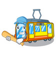 playing baseball electric train in character vector image vector image