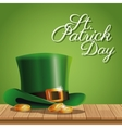 poster st patrick day gold coins hat on wooden vector image vector image