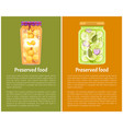 preserved fruit and vegetables set icon vector image