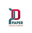 printing company symbol for business card design vector image