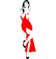 red dress girl vector image vector image