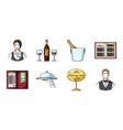 restaurant and bar icons in set collection for vector image vector image