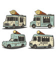 retro colored ice cream transport set vector image vector image