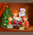 santa claus reading book to children vector image vector image