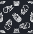 seamless pattern with hand drawn chalk pepper vector image vector image