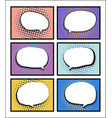 set comic book pop art with blank speech bubble vector image
