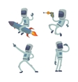 set of cute astronauts in space working vector image