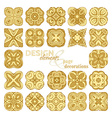 Set of square gold geometric ornaments vector image