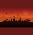 silhouette pumpkin and grave halloween vector image vector image