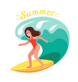 summer surfer girl rides waves ocean vector image