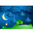 surreal landscape by night with hanging clouds vector image vector image