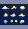 weather forecast icons realistic set vector image vector image