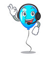 with headphone blue balloon bunch design on vector image