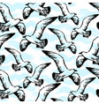 ink hand drawn seamless pattern with seagulls vector image