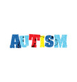 autism concept colorful stamped word vector image vector image