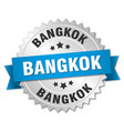 bangkok round silver badge with blue ribbon vector image vector image