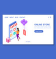 banner online store with a character convenient vector image