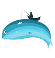 blue whale and fisherman vector image vector image
