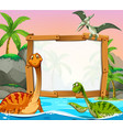 border template with dinosaurs in the ocean vector image vector image