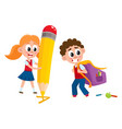 boy carrying backpack girl with huge pencil vector image vector image