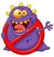 Cartoon Stop virus - purple virus in red alert sig vector image vector image