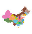 china map with province region flat on white vector image vector image