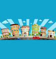 city buildings and shops cartoon vector image