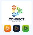 connect play button logo link connection with vector image vector image