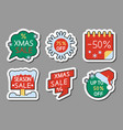cristmas season sale icon sticker set vector image