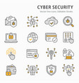 cyber security icon set collection antivirus vector image vector image
