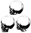 detailed black and white skull tattoo set vector image vector image