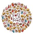 Fast Food Circle vector image vector image