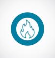 fire icon bold blue circle border vector image