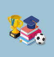 flat education concept with books cup winner and vector image vector image