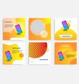 fluid wave social media in orange layout template vector image vector image