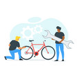 friends fixing bicycle vector image