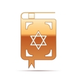 Gold Jewish torah book icon on white background vector image