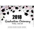 graduate caps with multi colored confetti banner vector image vector image