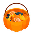 halloween candy basket icon isometric style vector image