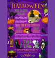 halloween pumpkin witch hat and bat poster design