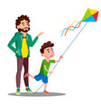 happy father and child son launch a kite vector image vector image