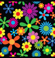 hippie flowers seamless pattern vector image vector image